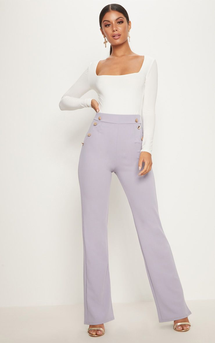 Grey Military High Waist Button Wide Leg Trousers
