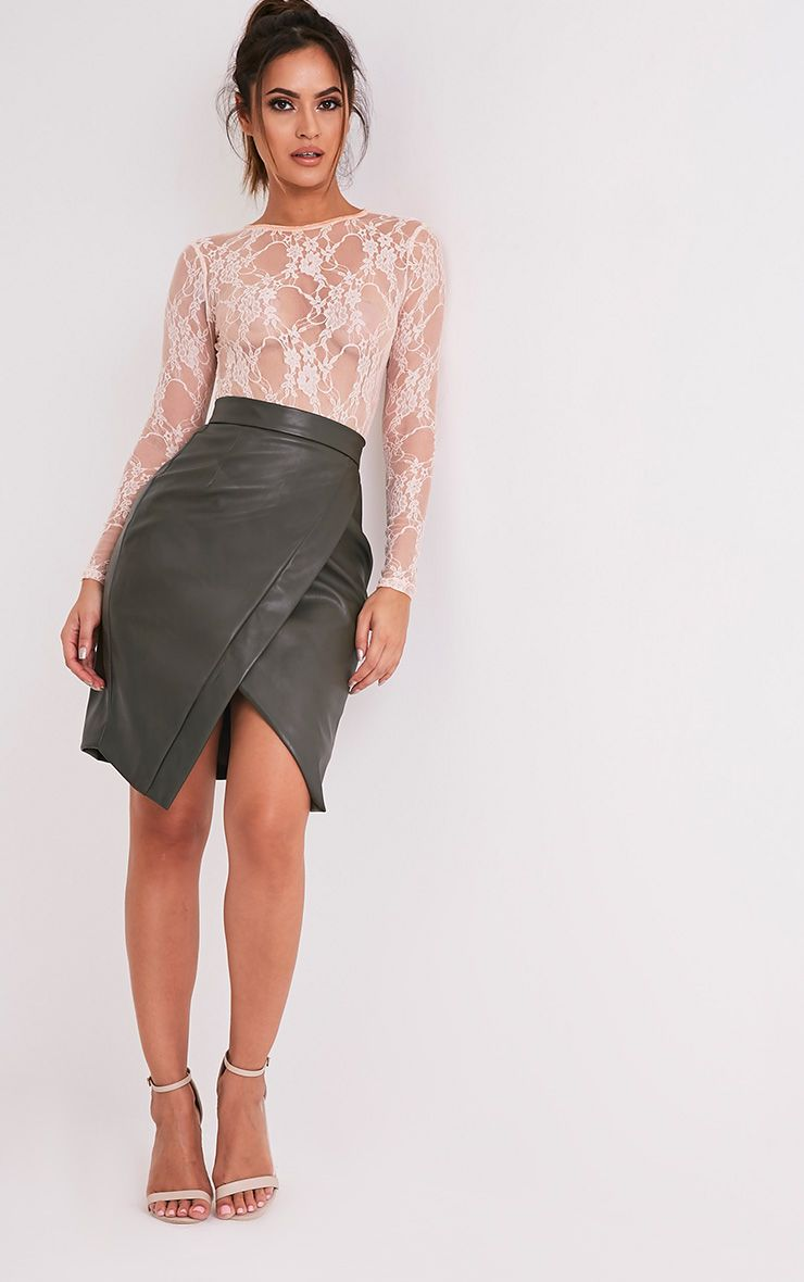 Greer Khaki Faux Leather Wrap Midi Skirt 1