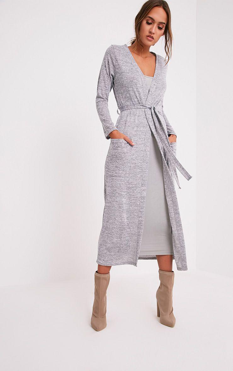 Liona Cardigan maxi avec ceinture gris 5