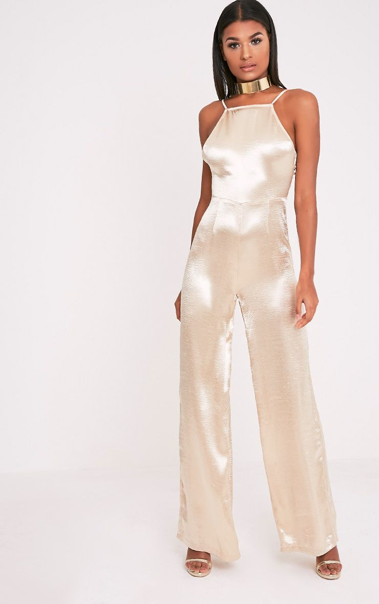 Daliah Gold Hammered Satin 90's Neck Wide Leg Jumpsuit