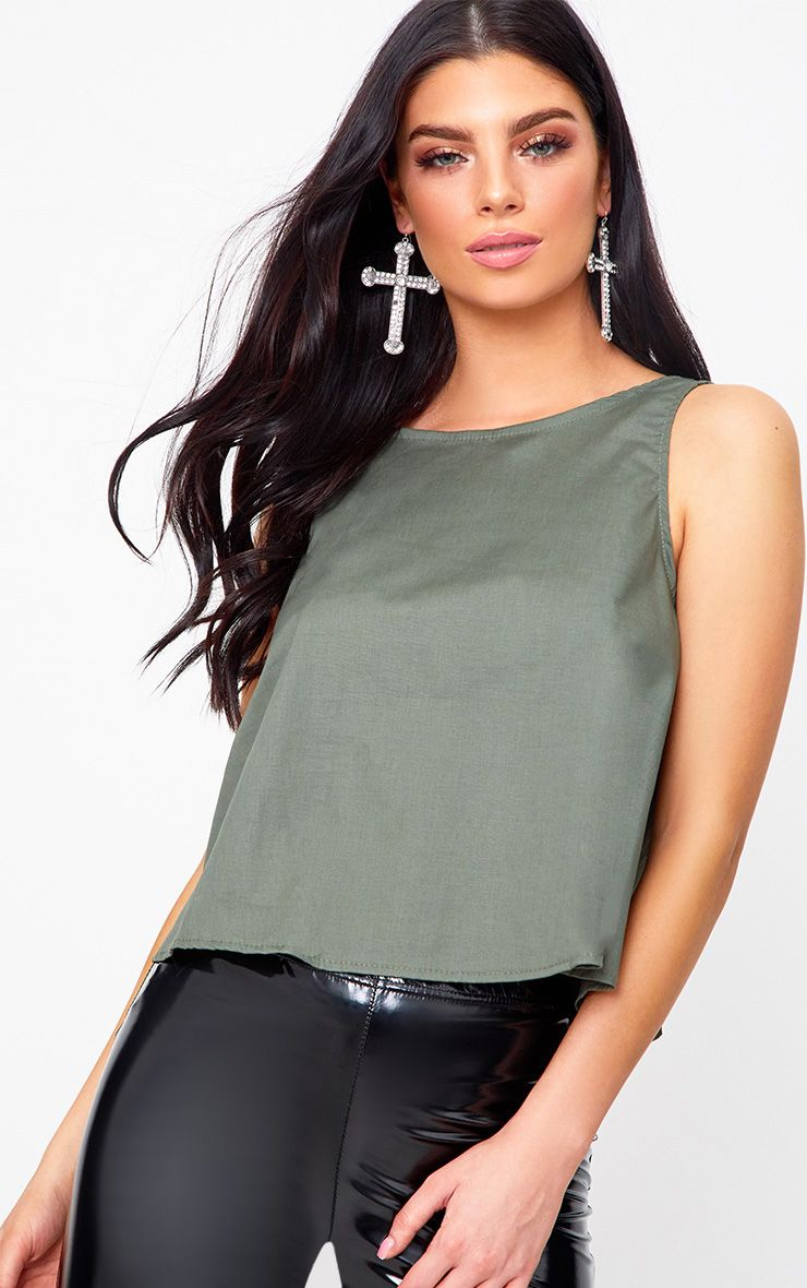 Khaki Bow Back Sleeveless Shirt