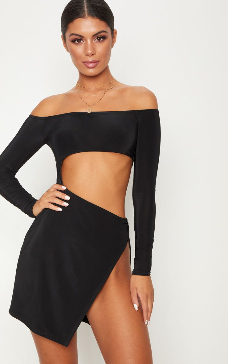 Black Bardot Cut Out Extreme Split Bodycon Dress