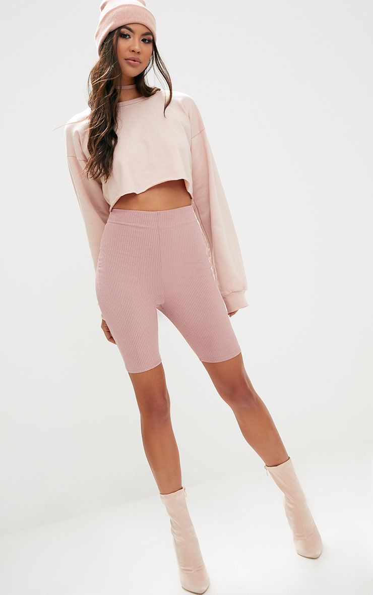 Light Pink Ribbed Shimmer Cycle Shorts