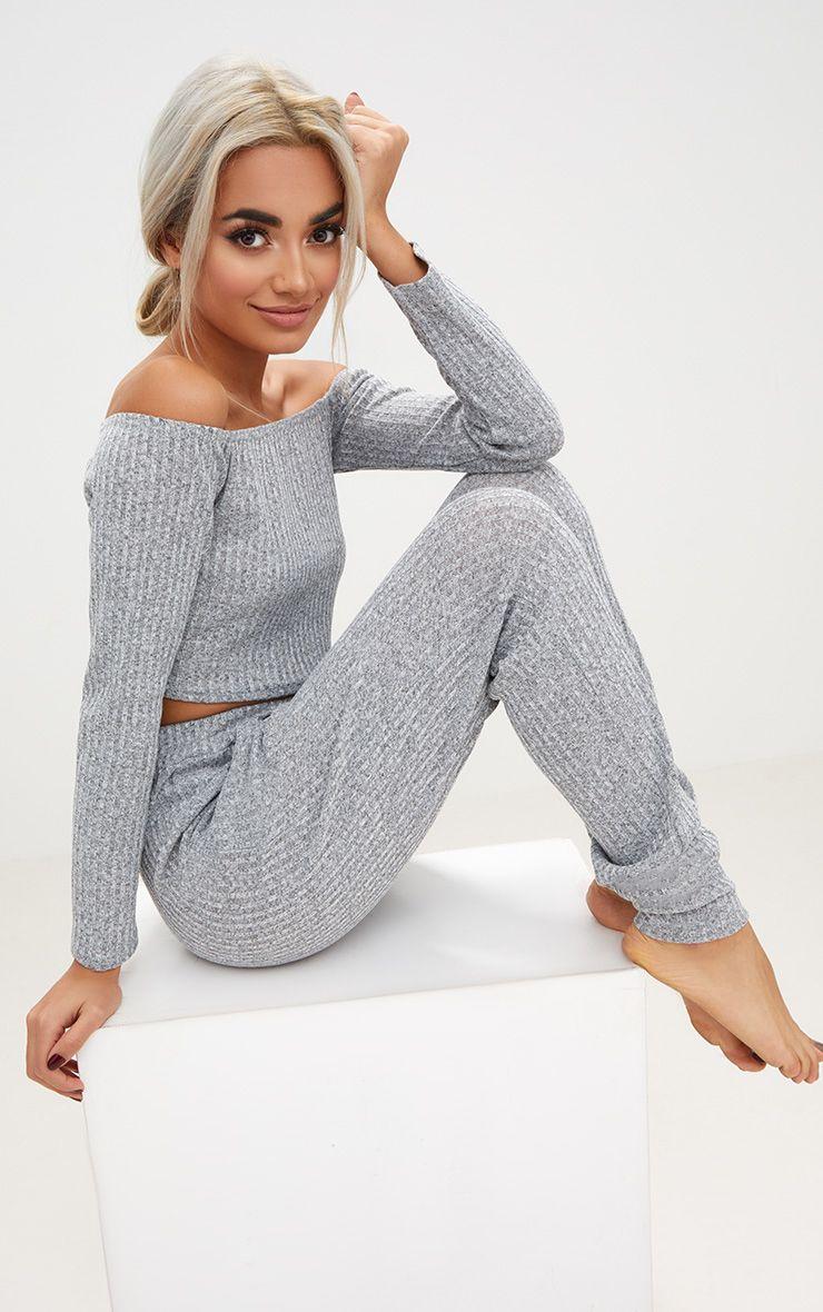 Grey Marl Bardot Knit Set