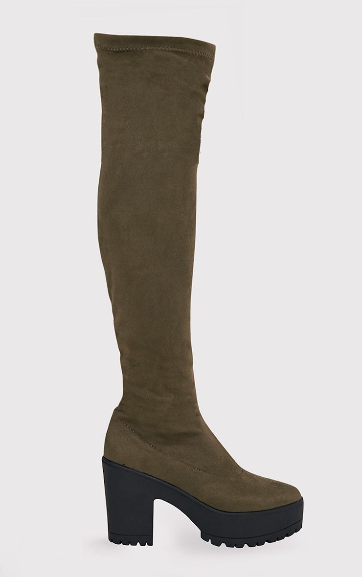 Teresa Khaki Cleated Platform Over the Knee Boots