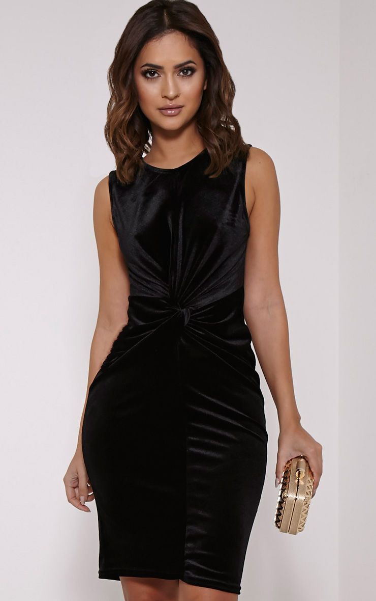 Brianna Black Velvet Twist Front Midi Dress 1
