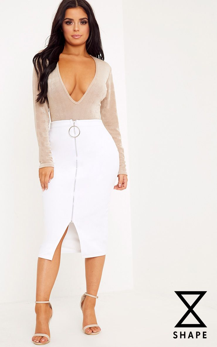Shape Rosita White O-Ring Zip Midi Skirt