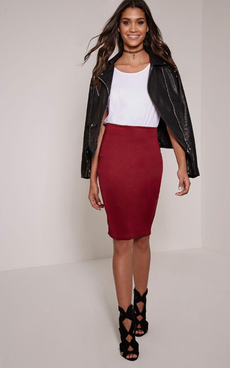 Rhian Wine Scuba Midi Skirt 1