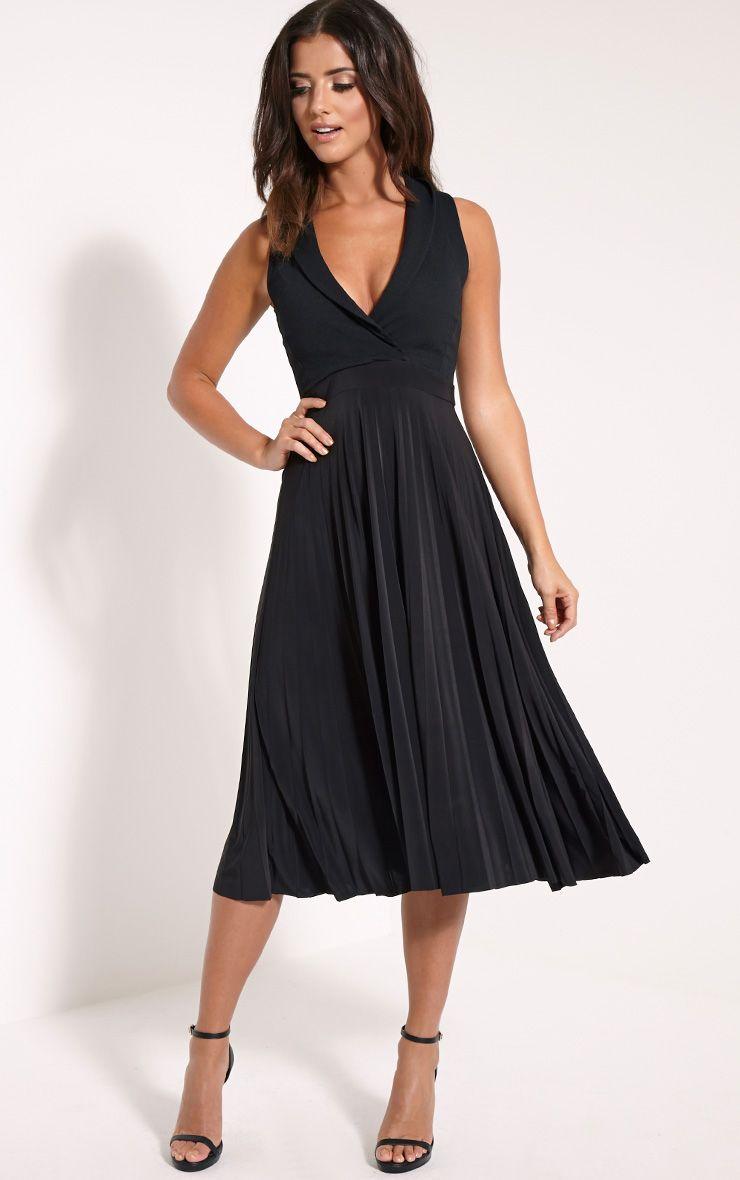 Flore Black Deep Plunge Pleated Midi Dress 1