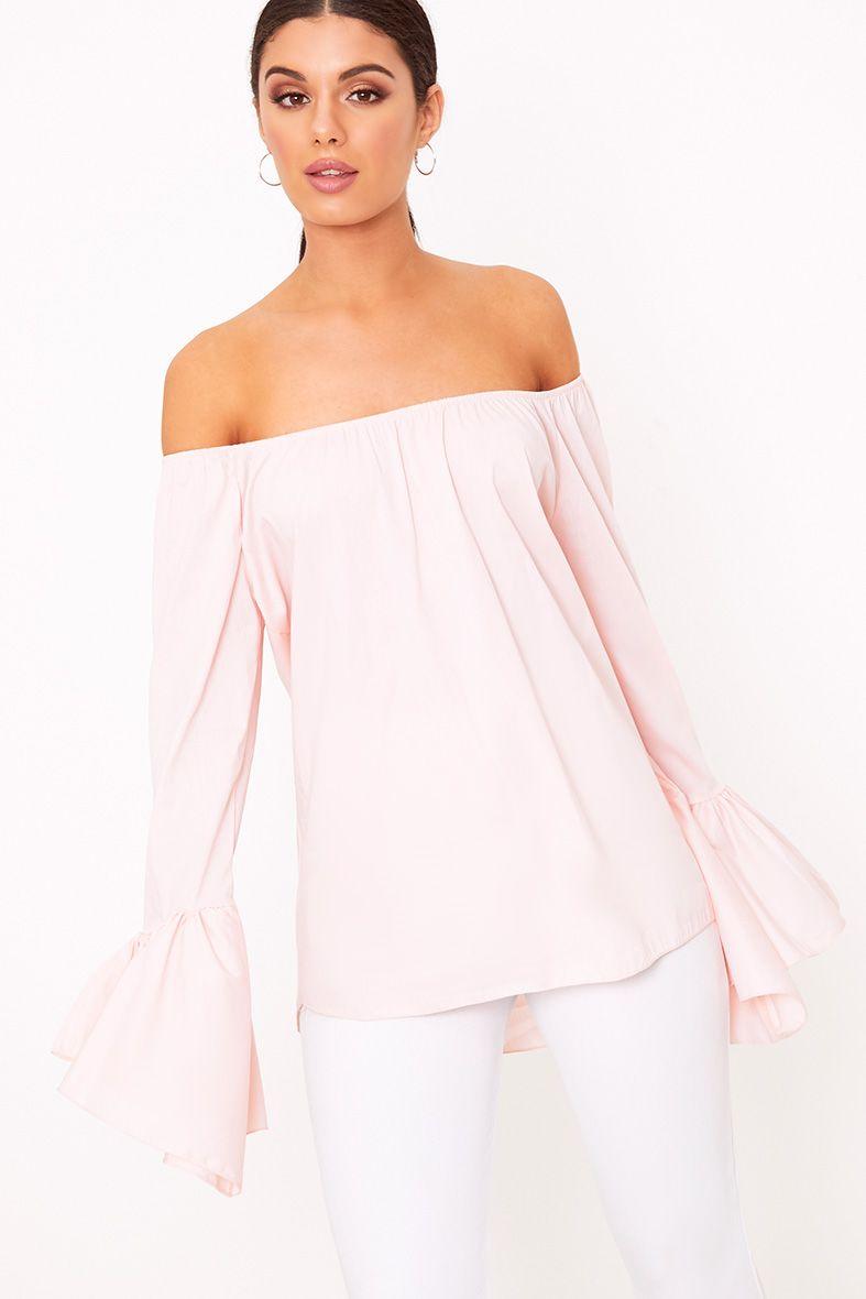 Yadira Pink Bardot Flute Sleeve Shirt