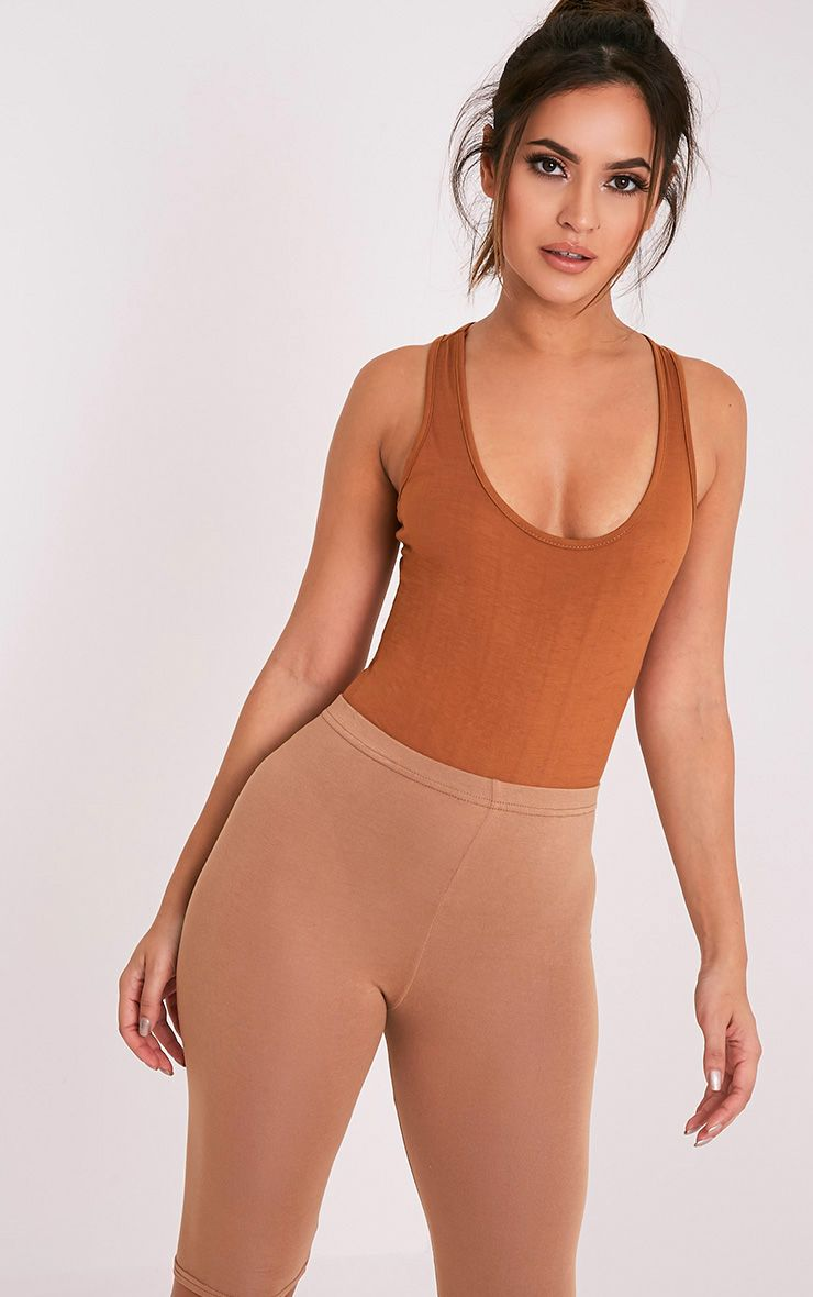 Basic Tan Racer Back Thong Bodysuit