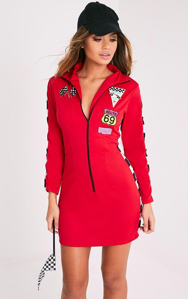 Racer Girl Red Fancy Dress Costume