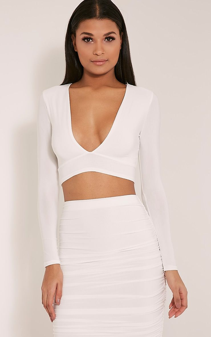 Darcia Cream V Neck Long Sleeve Crop Top 1