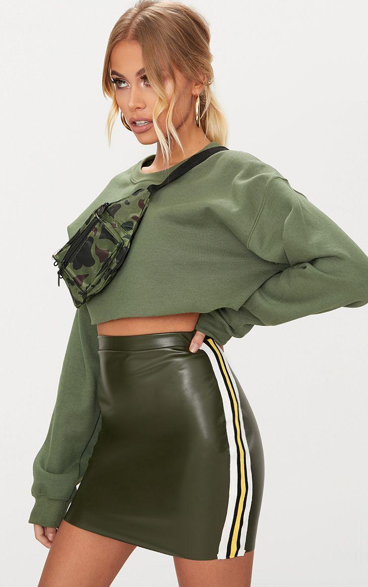 Khaki PU Track Stripe Mini Skirt