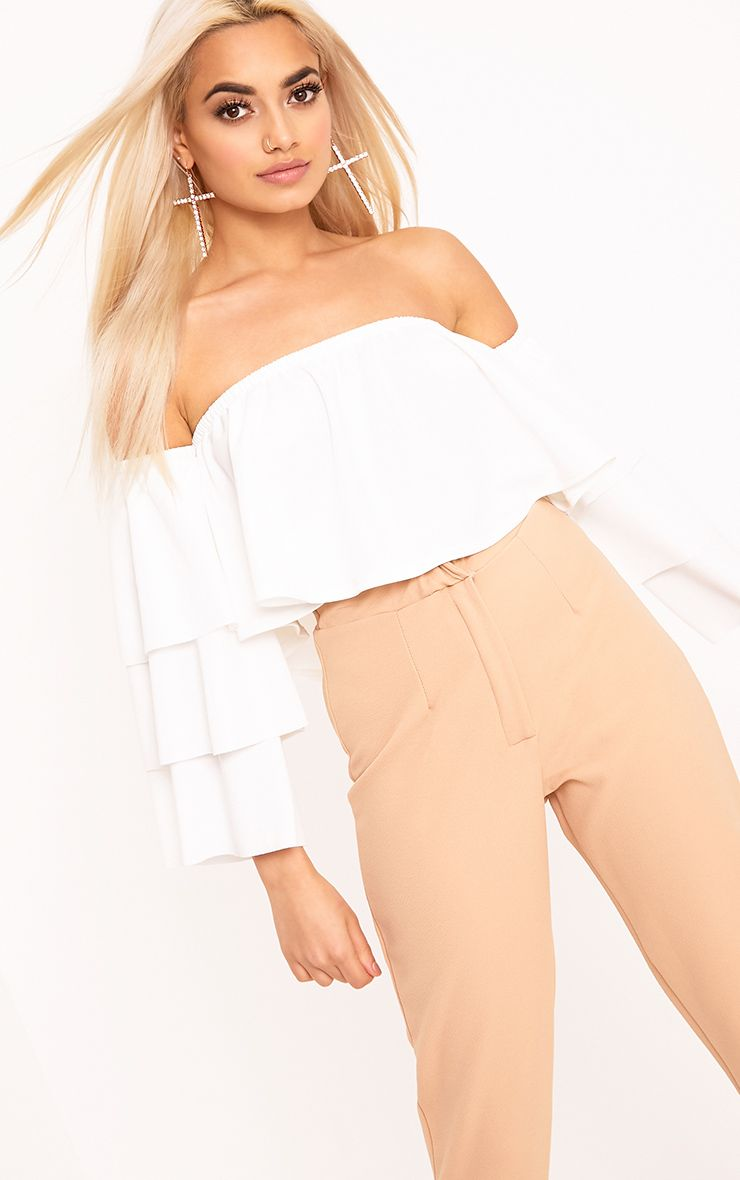 Cream Bardot Layered Frill Sleeve Crop Top