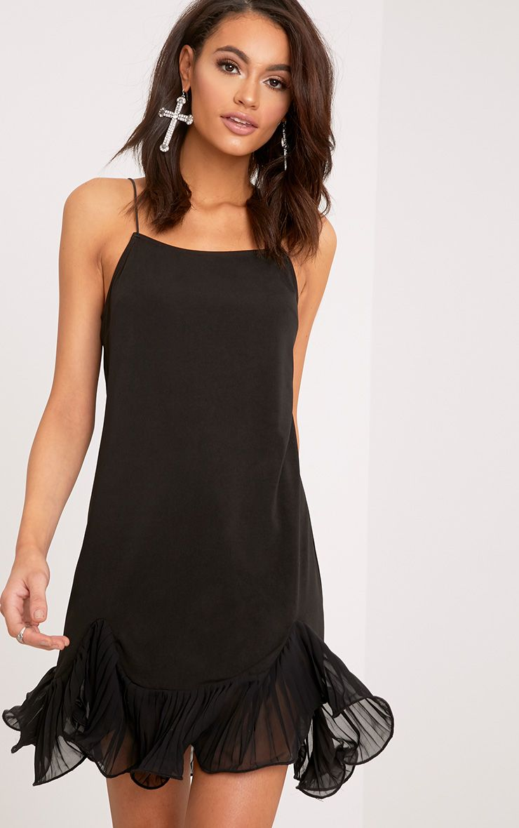 Darshia Black Strappy Pleated Frill Hem Shift Dress