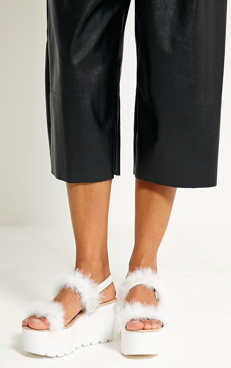 Chelo White Fluffy Strap Sandals 1