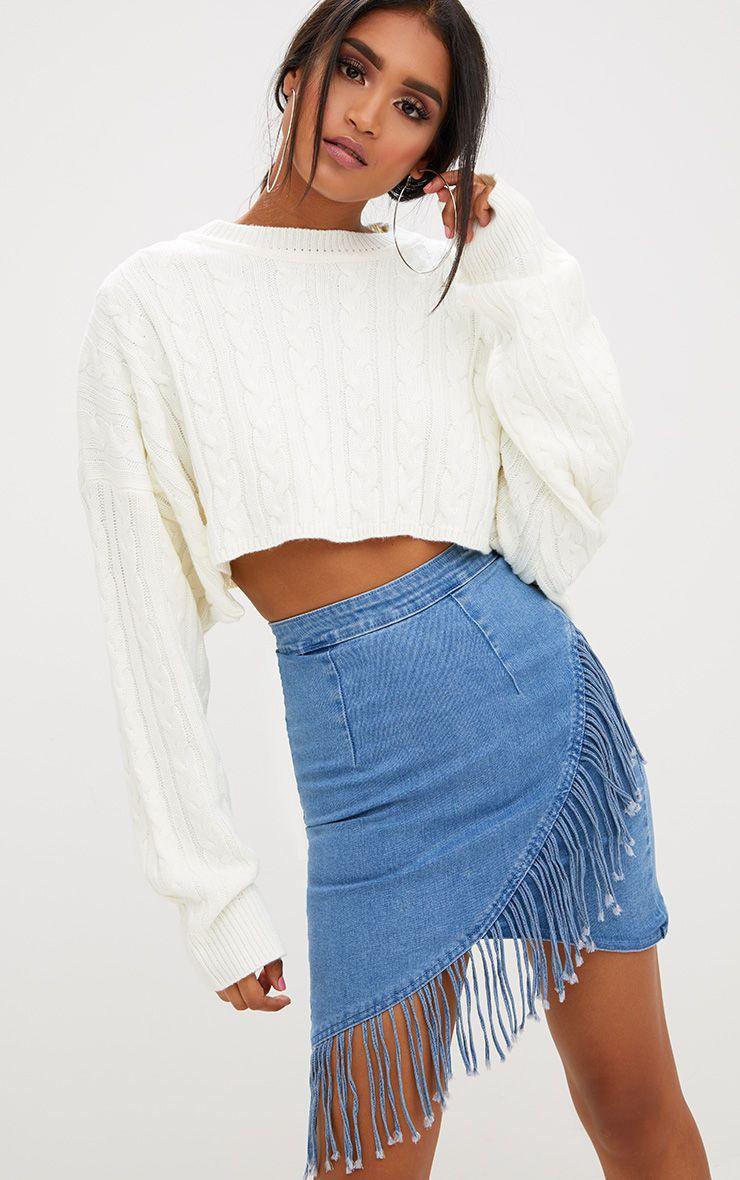 Mid Wash Fringed Hem Denim Mini Skirt
