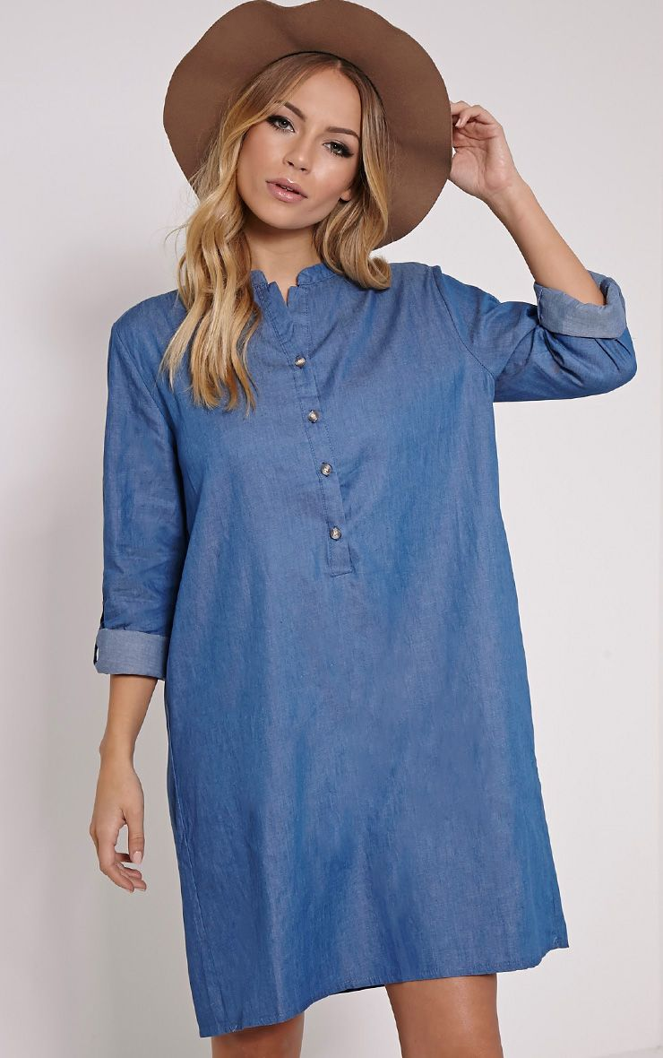 Mariana Blue Collarless Denim Shirt Dress 1