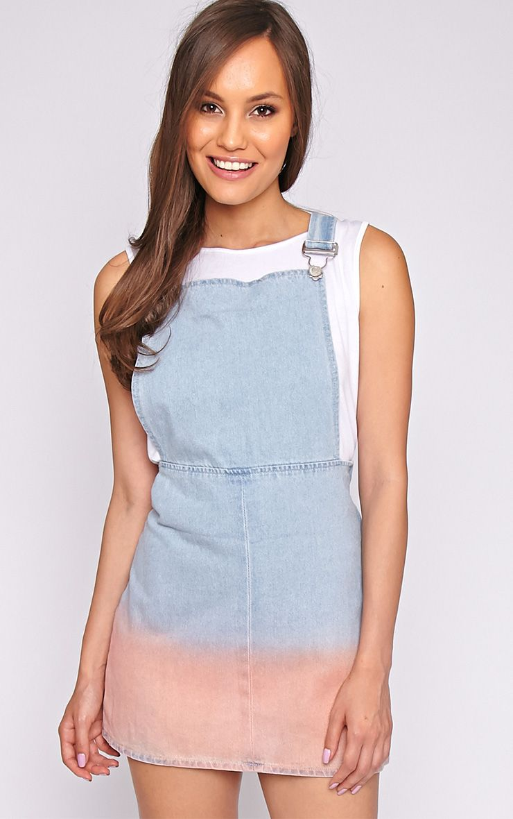 Marisol Pink Ombre Denim Dungaree Dress -6 1