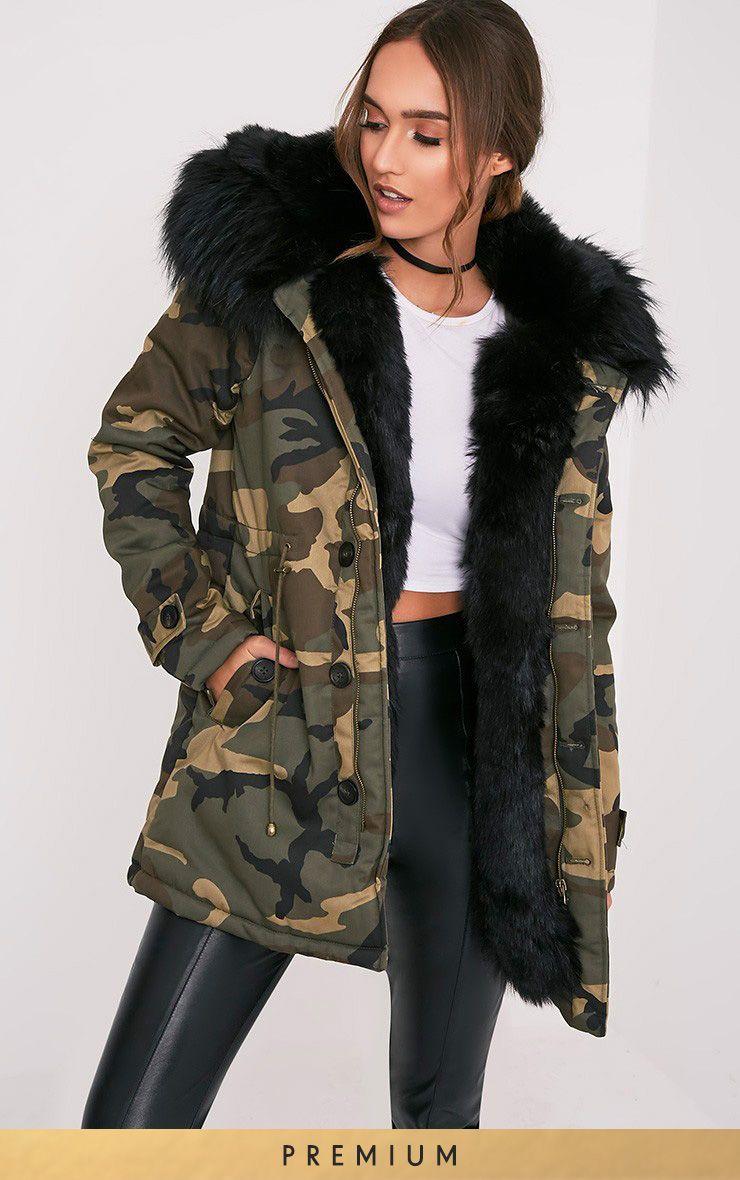 Fliss Black Premium Camo Faux Fur Lined Parka 1