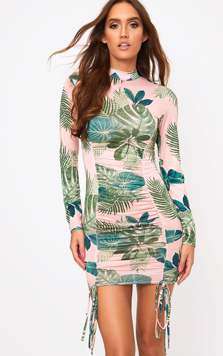 Nude Palm Print Tie Detail Bodycon Dress