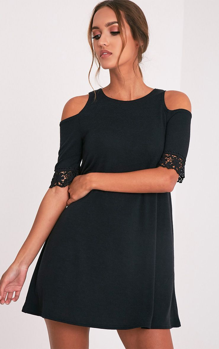 Aaesha Black Sleeve Lace Trim Knitted Dress