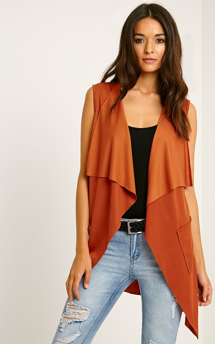 Mirabel Rust Belted Sleeveless Jacket 1
