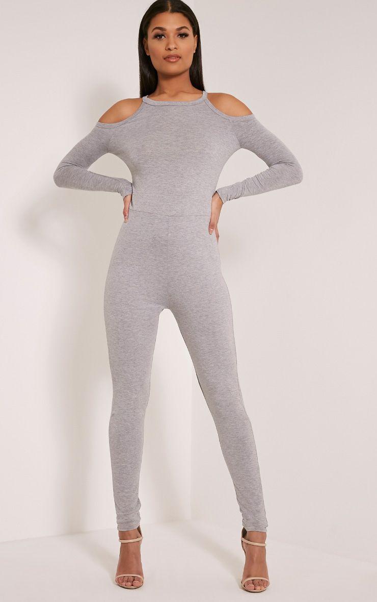 Bessy Grey Cold Shoulder Jumpsuit 1