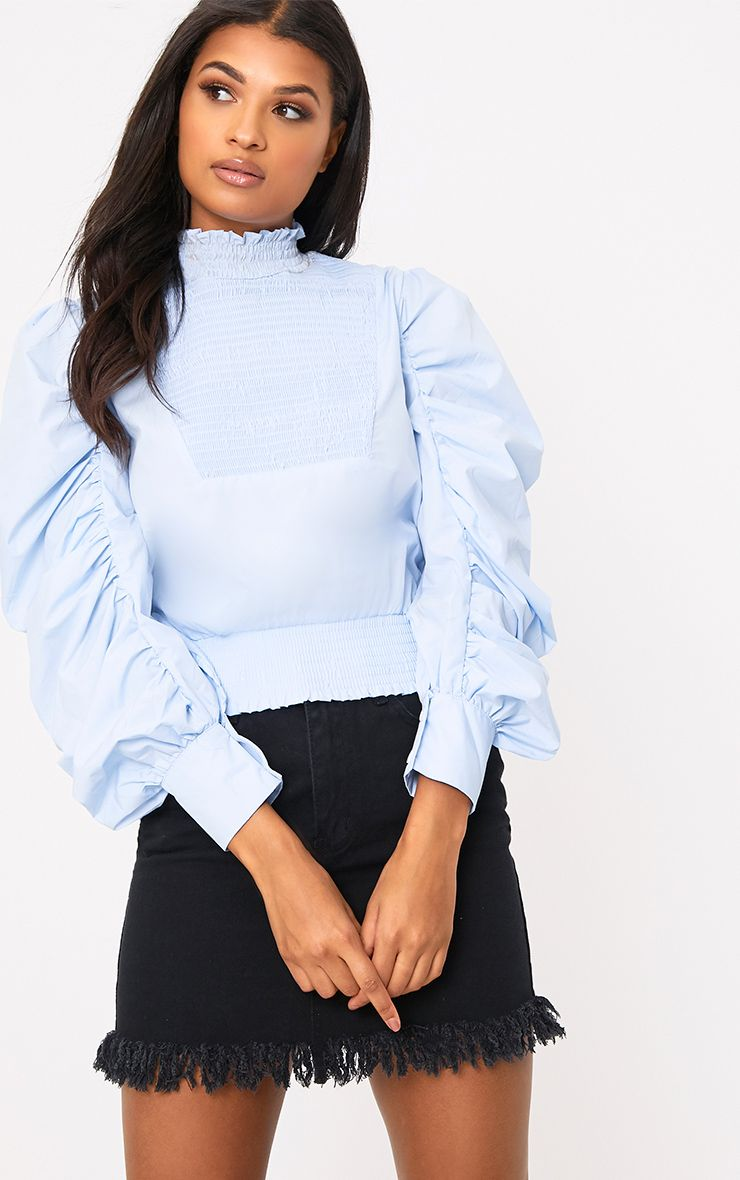 Blue Ruched Oversized Sleeve Shirt