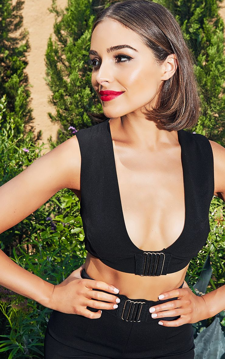 Black Cut Out Trim Detail Asymmetric Crop Top