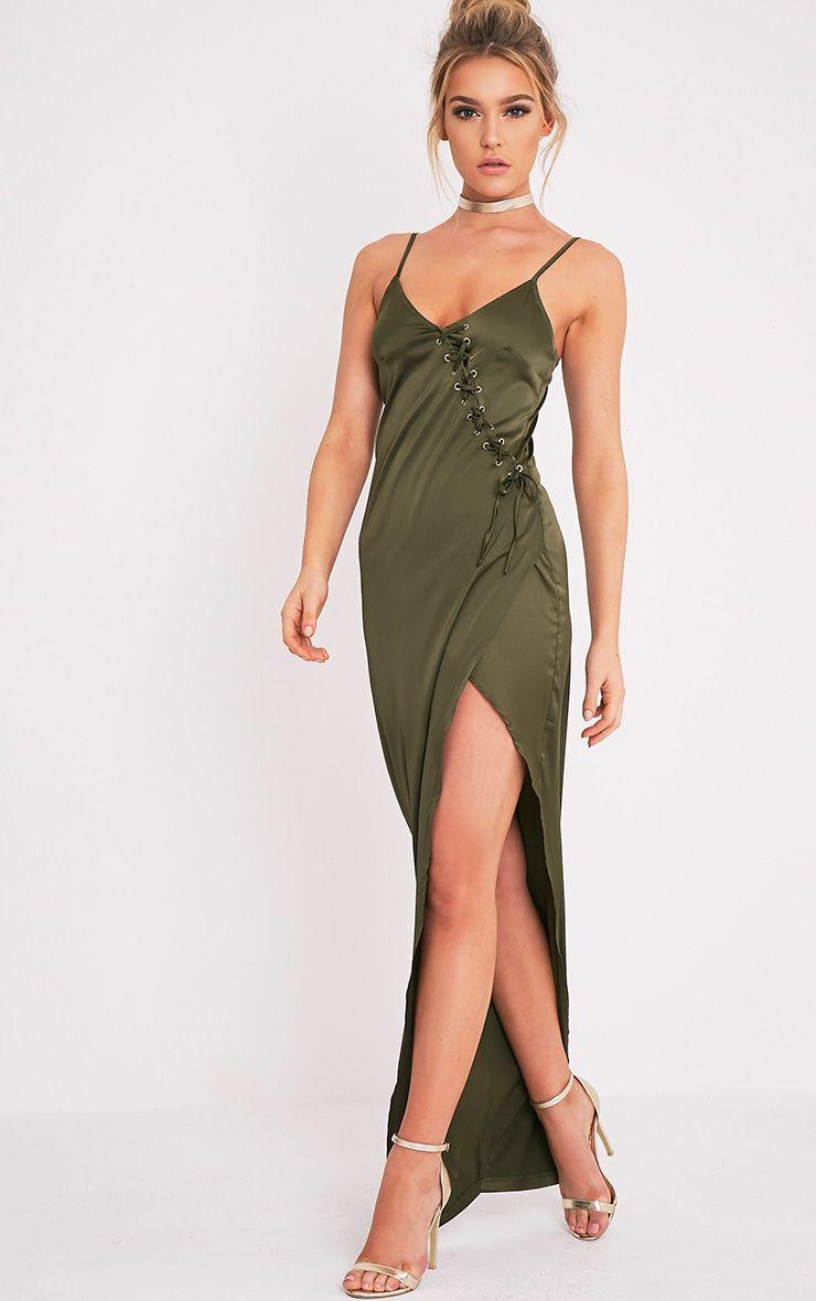 Darcey Khaki Satin Lace Up Maxi Dress