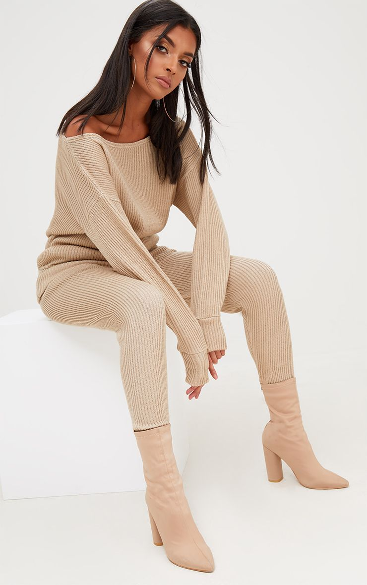 Stone Ribbed Knitted Lounge Tracksuit