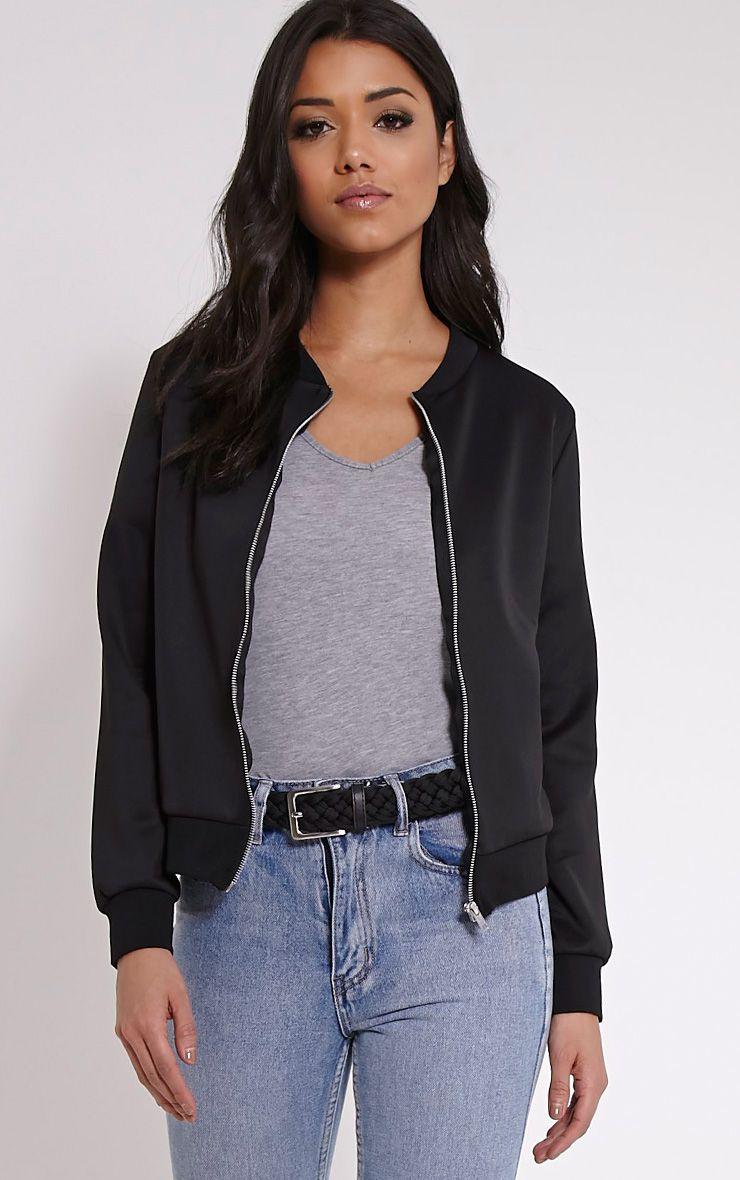 Liana Black Scuba Bomber Jacket