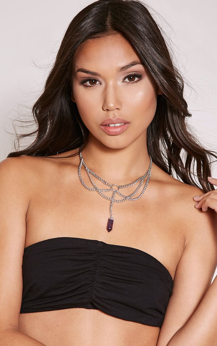 Mimy Silver Stone Drop Chain Choker 1