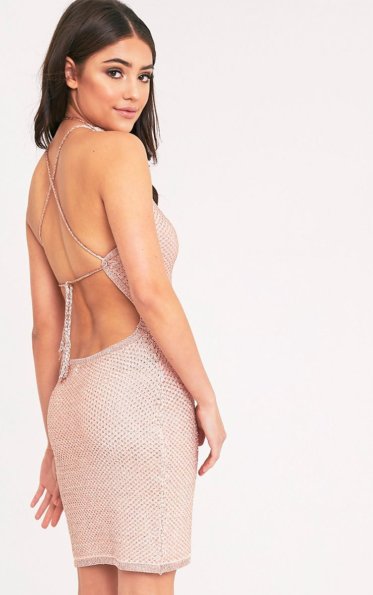 Peony Metallic Rose Gold Knitted Mini Halter Dress 1