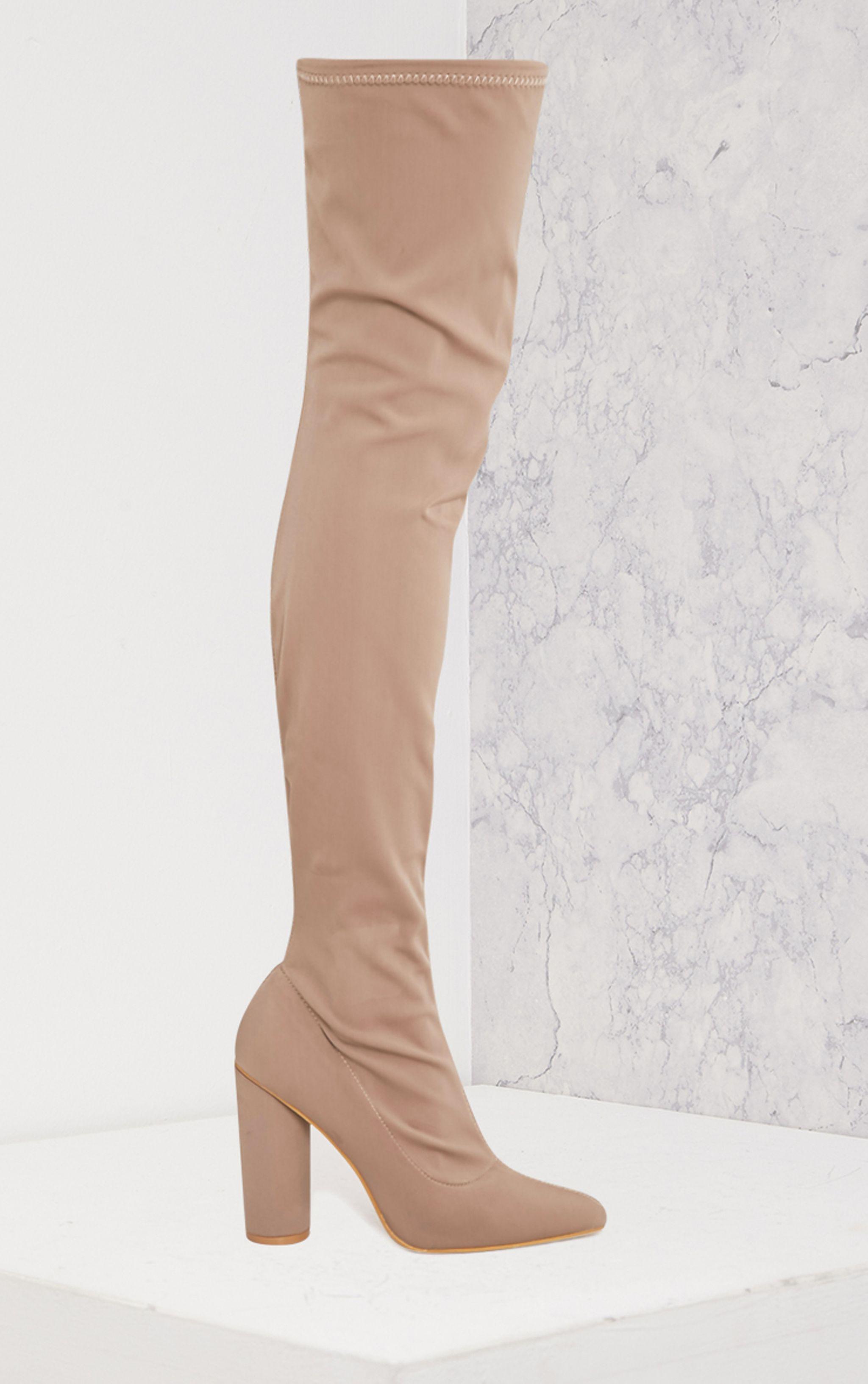 Leenah Mocha Neoprene Pointed Thigh High Heeled Boots