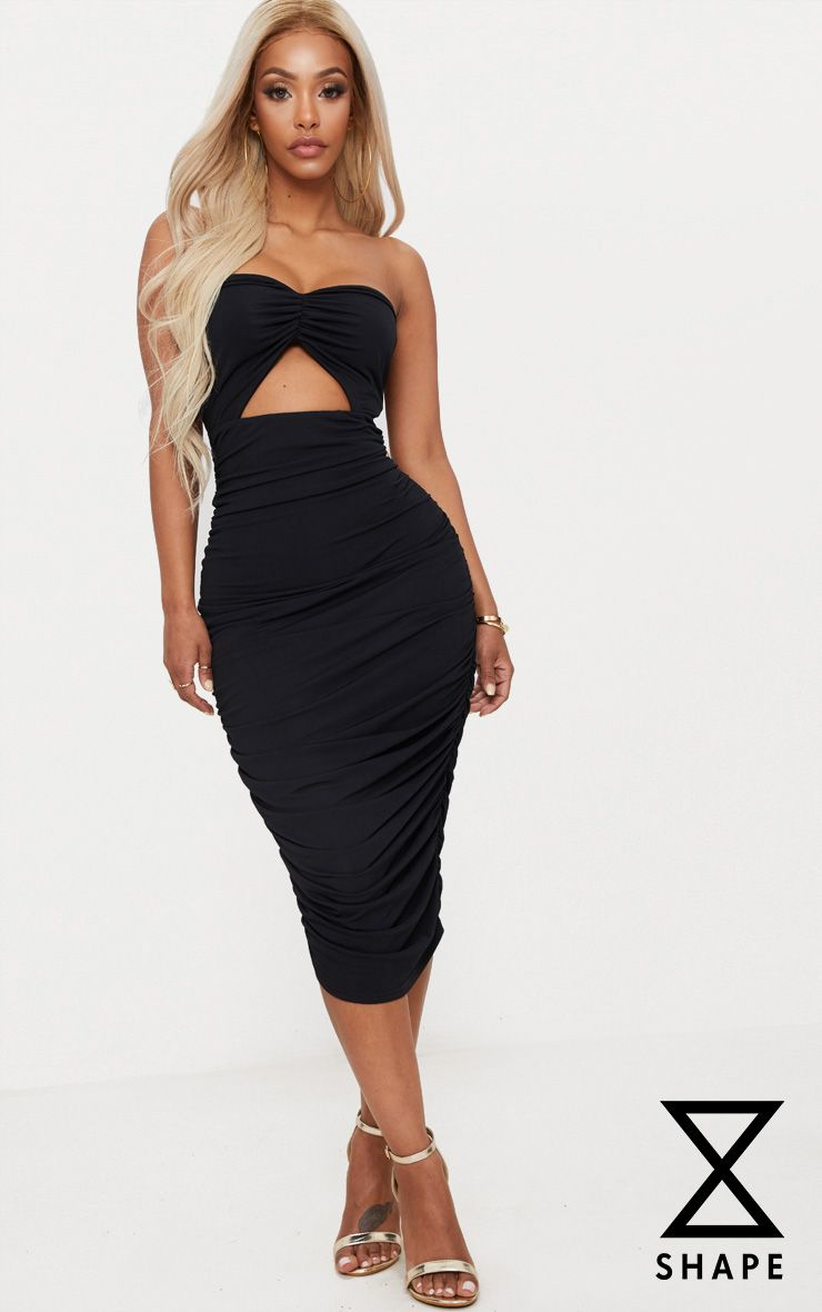Shape Black Slinky Cut Out Ruched Bandeau Midi Dress Pretty Little Thing Manchester Cheap Price Sale Store Cheap Sale Brand New Unisex Cheap Online Shop New Cheap Online kQWd8