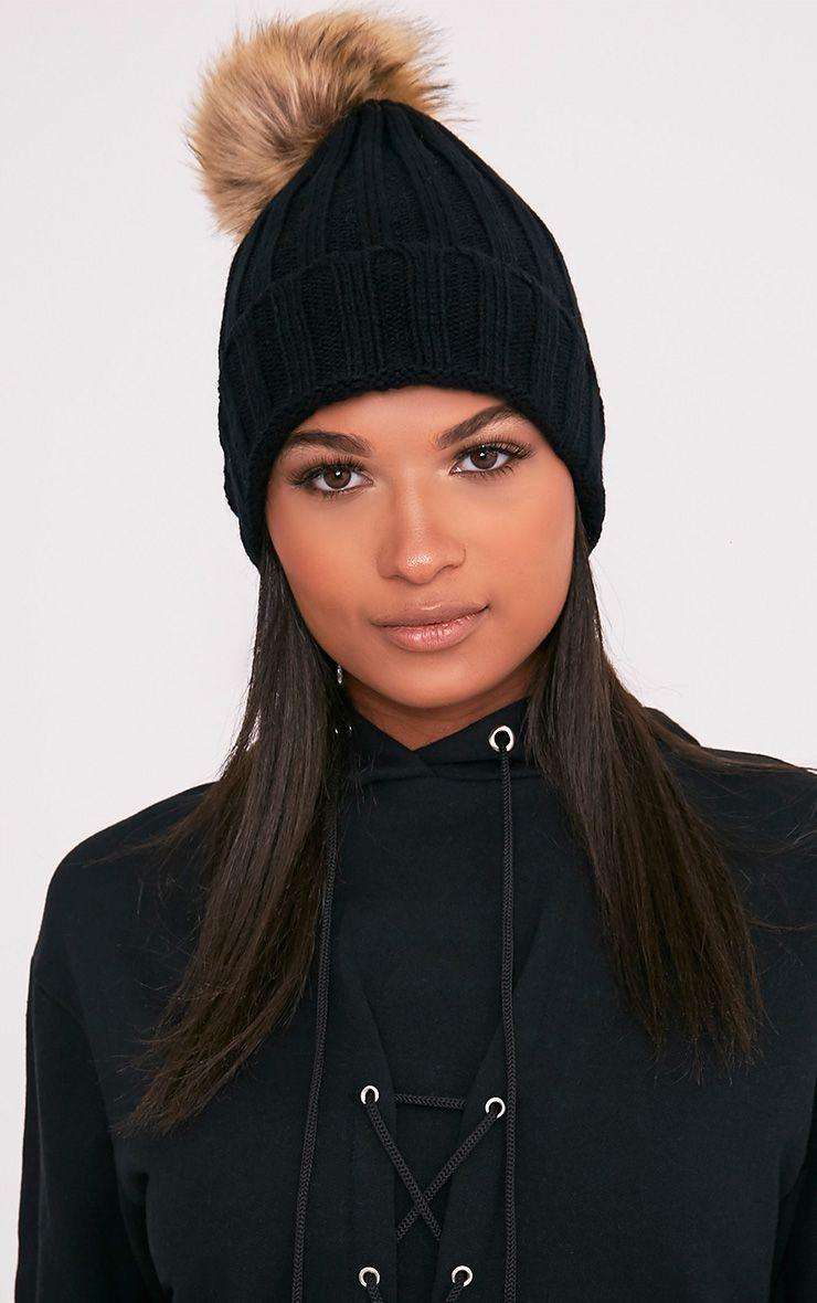 Lucille Black Knitted Oversized Pom Pom Beanie