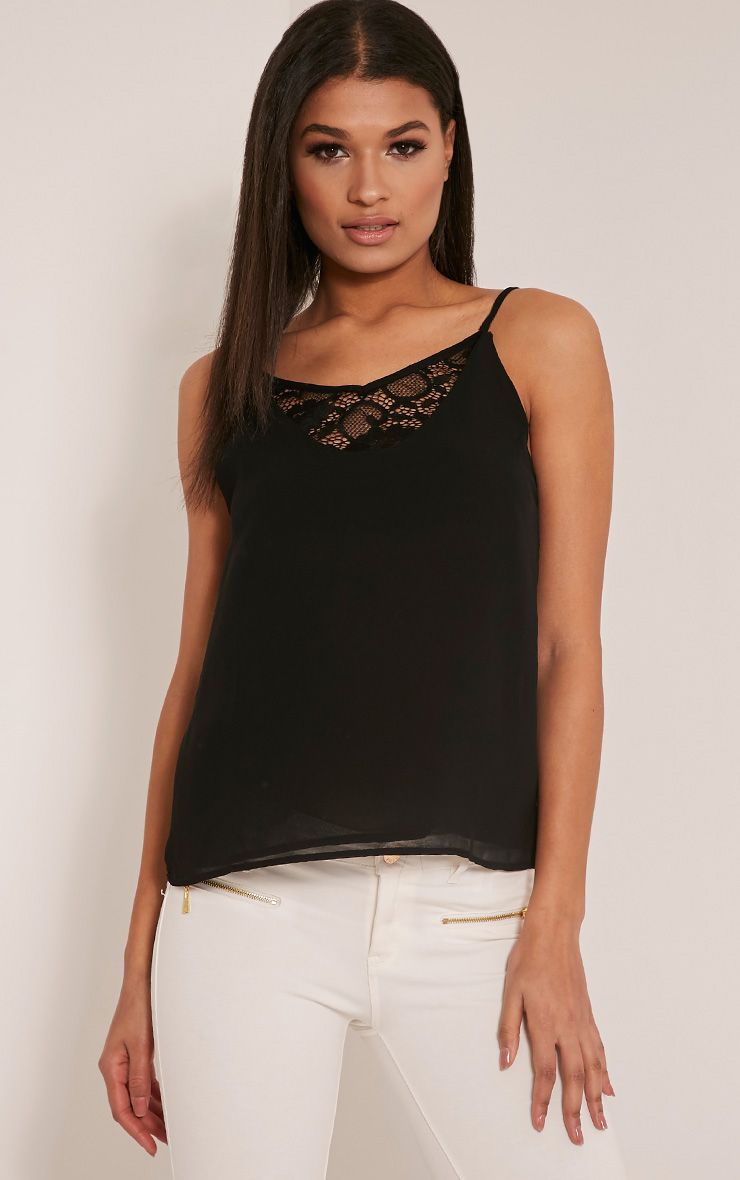 Sienna Black Lace Insert Cami Top