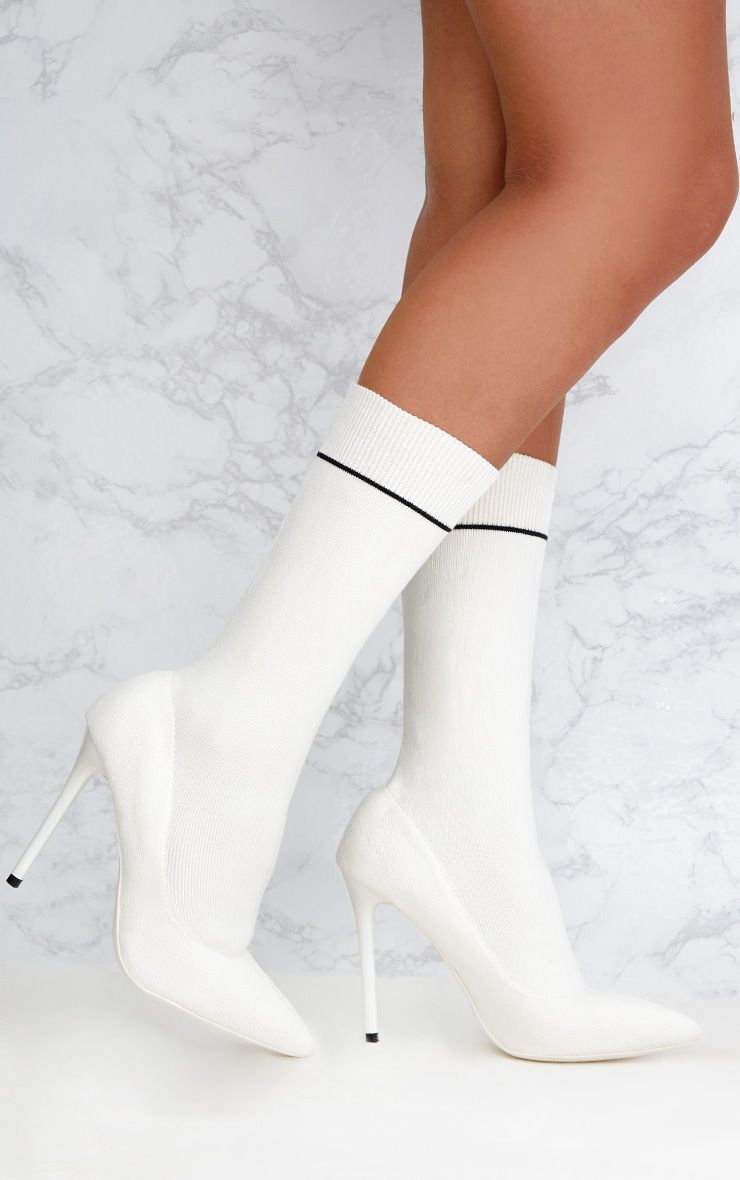 White Contrast Piping Knitted Pointy Sock Boots