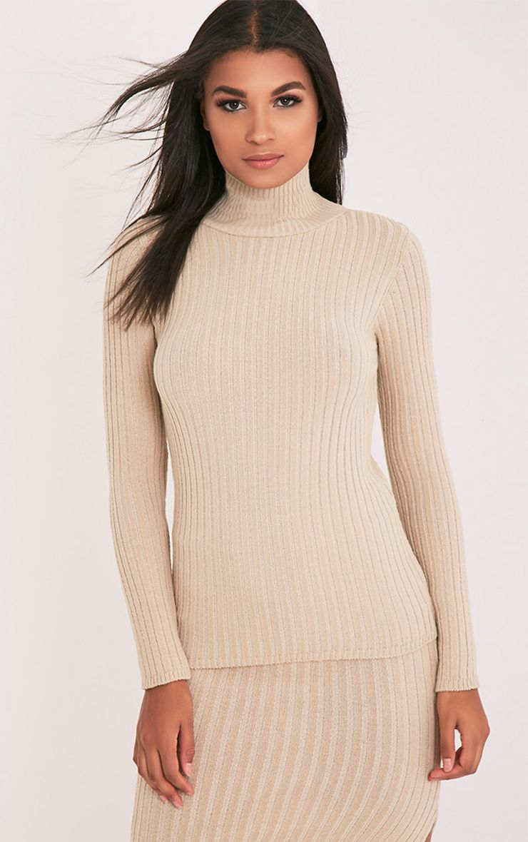 Ulanie Stone Turtle Neck Ribbed Knitted Jumper 1