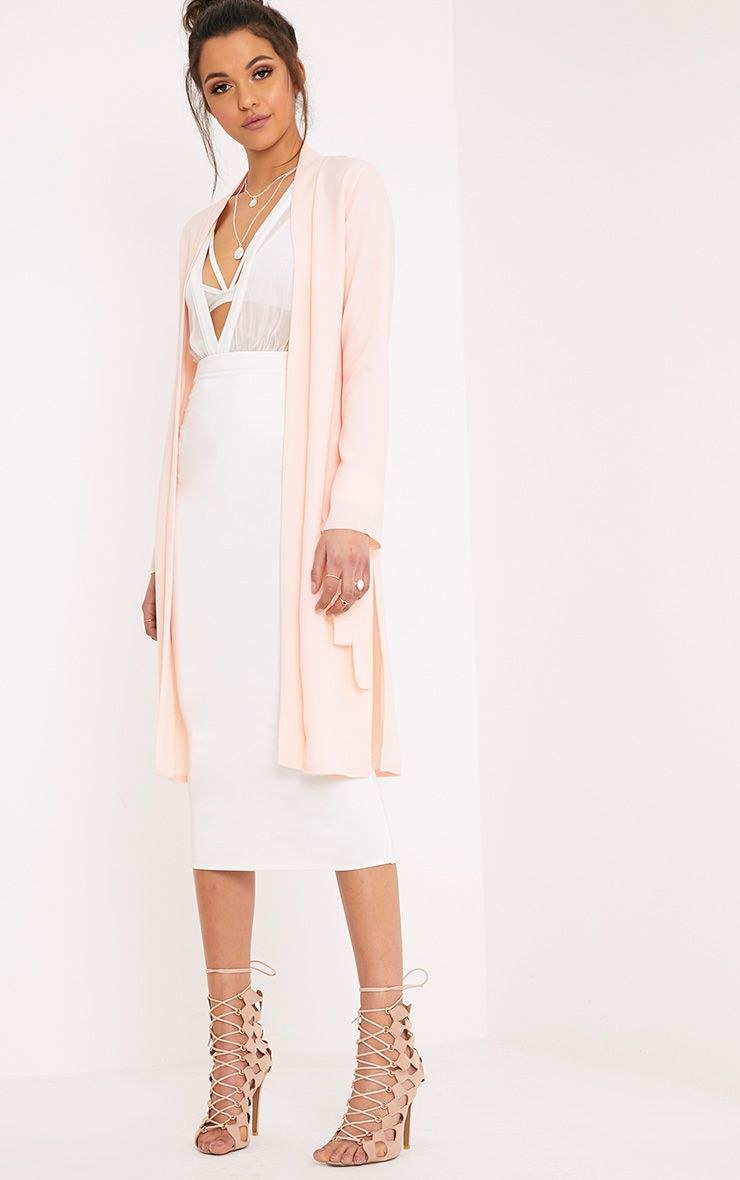 Aba Nude Sleeve Tie Detail Duster Coat