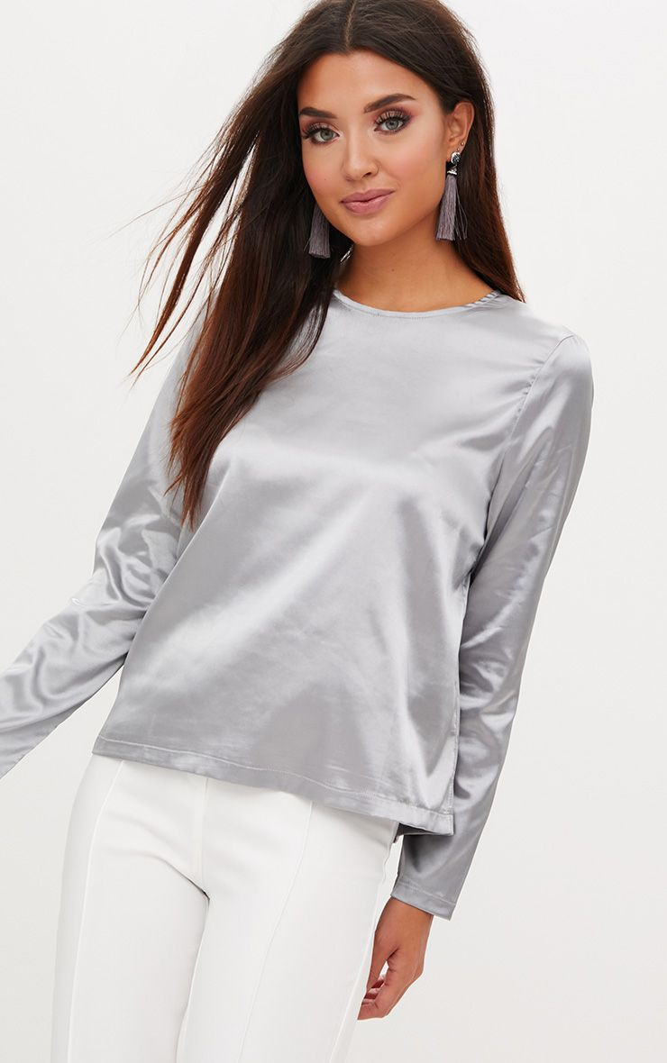 Dark Grey Satin Crew Neck Longsleeve Top