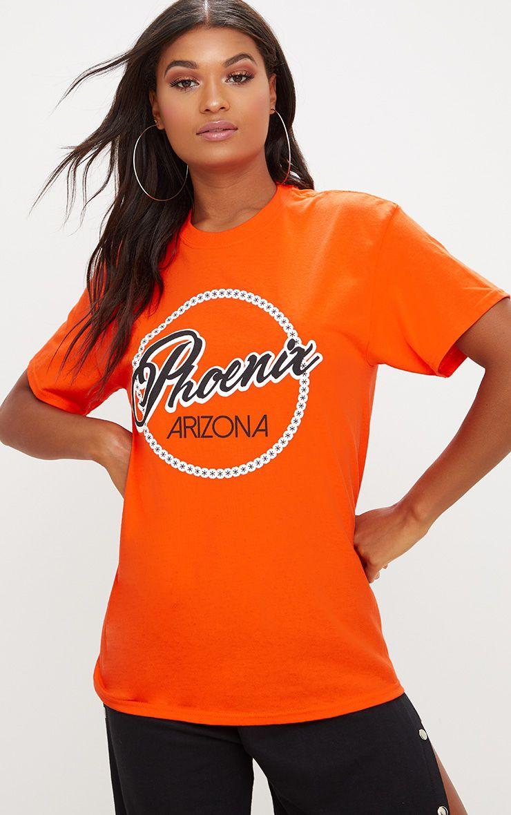 Pheonix Slogan Orange Oversized T Shirt