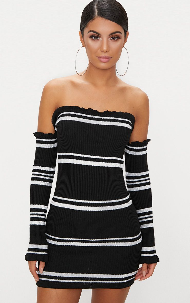 Black Lurex Stripe Ruffle Bardot Knit Dress
