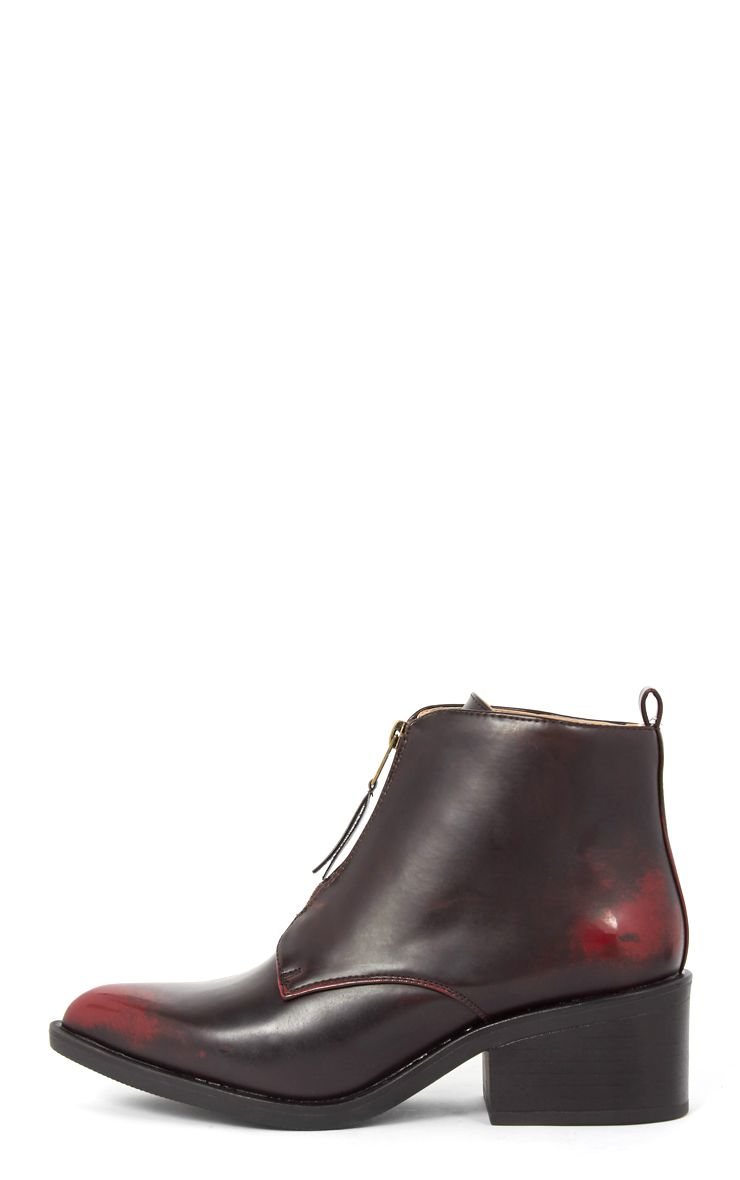 Rika Oxblood Zip Front Pointed Ankle Boot  1