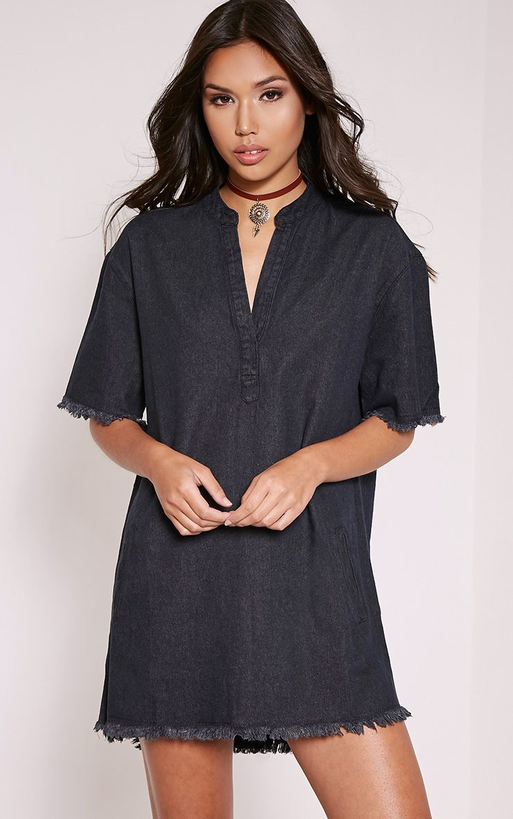 Kristel Black Denim Shift Dress 1
