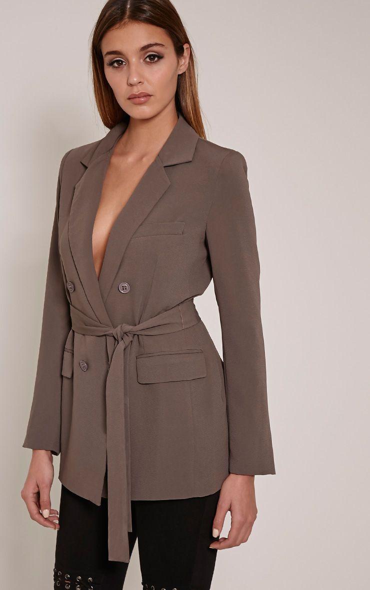Rebecca Charcoal Belted Blazer 1