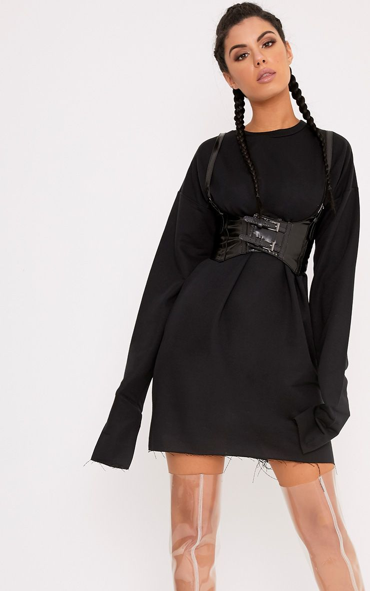 Breanna Black Extreme Long Sleeved Sweater Dress